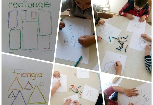 Leptirići engleski - Shapes, trace the lines worksheets
