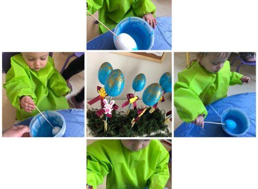 Žirafice - bojanje jaja akrilnim bojama te ukrašavanje povodom Uskrsa; istraživanje svojstva akrilne boje i poticanje na pažnju i preciznost