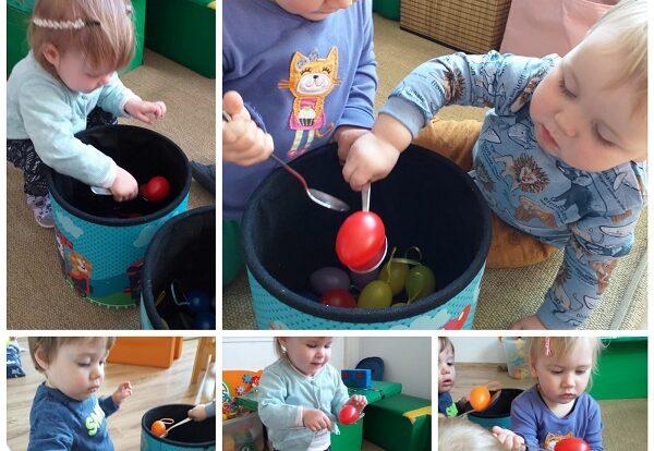 Bubamare- prenošenje plastičnih jaja iz kutije u kutiju pomoću žlice. Razvoj osjećaja za ravnotežu te poticanje razvoja okulomotorike