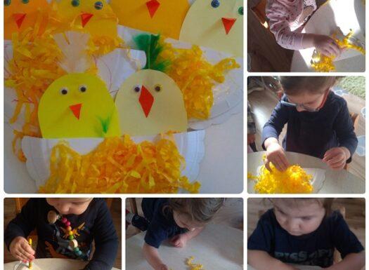 Zečići - izrada uskršnje čestitke, bojanje pastelama i ljepljenje; poticanje na likovno stvaralaštvo