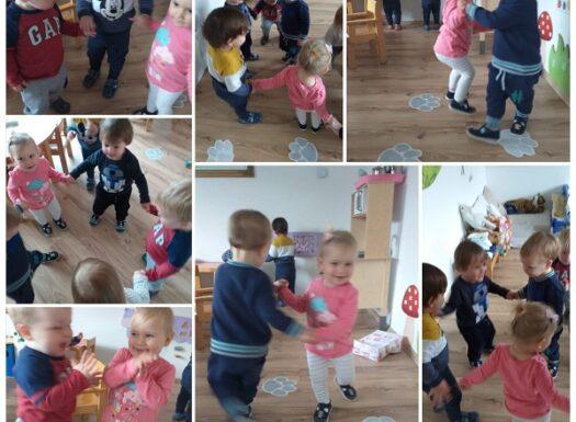 Bubamare - razvoj motorike pomoću pokreta uz glazbu (okretanje, pljeskanje, pokreti rukama); poticanje razvoja slušne percepcije i ritma