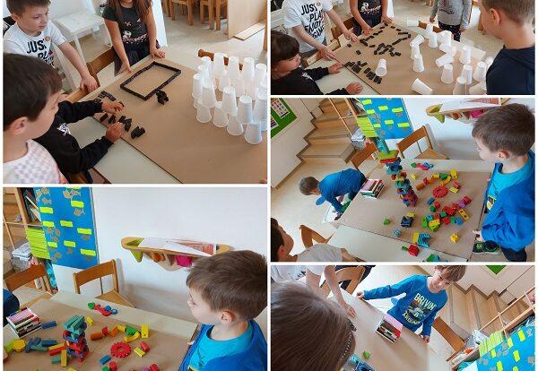 Ribice - istraživačka aktivnost; gradnja kućica od različitog materijala, simuliranje potresa, razvoj logike i suradnje