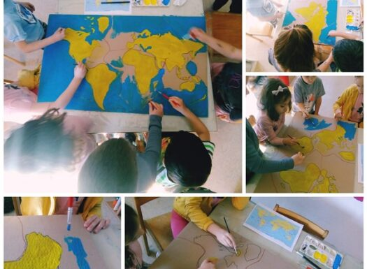 Ribice - Project work; tectonic plates of the Earth, coloring the map, writing the names of the plates and marking the lines of the plates movements