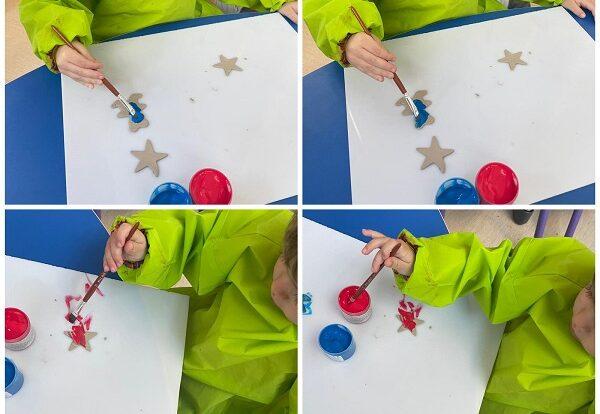 Žirafice - likovna aktivnost glinamolom i temperama; modeliranje glinamola pomoću modlica kao sredstvo poticanja ugode i razvoja malih mišićnih skupina te bojanje gotovih oblika