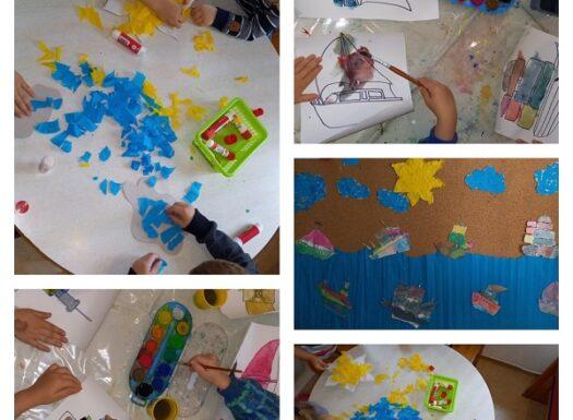 Leptirići- likovni centar, tema More i brodovi; korištenje vodenih bojica, krep papira i ljepila. Poticanje razvoja fine motorike, vizualne percepcije i kreativnosti