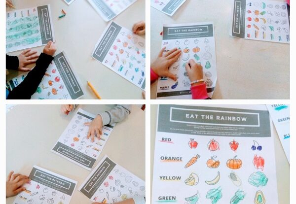 Engleski leptirići - fruit and veggies worksheets, coloring with the appropriate color