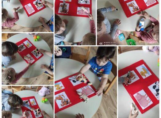 Bubamare - prepoznavanje i imenovanje životinja sa plakata te povezivanje sa figuricom, poticanje razvoja govora i logičkog zaključivanja