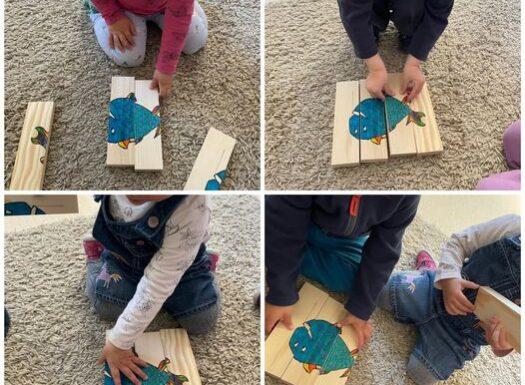 Žirafice - zajednička aktivnost slaganja drvene slagarice. Pribrajanje dijelova cjelini te poticanje na suradnju i istraživanje teksture drveta
