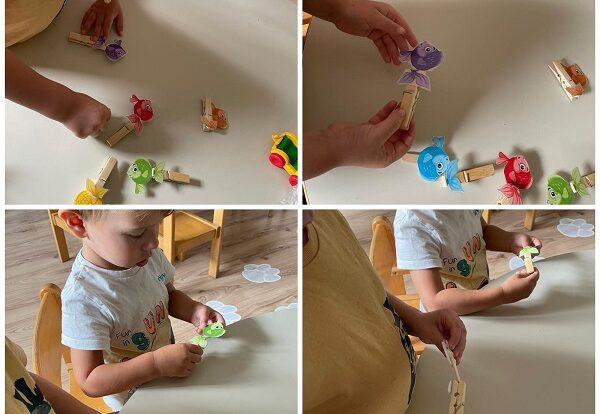 Žirafice - razvoj fine motorike pomoću spajanja ribica te poticanje imenovanja i prepoznavanja boja