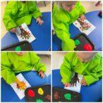 Žirafice - likovna aktivnost izrade jesenskog stabla,otisak dlana na kolažu te otiskivanje tempere prstima na papir, razvijanje okulomotorike te kreativnosti uz istraživanje teksture boje