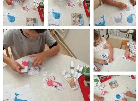 Leptirići- spajanje puzzli i prepoznavanje sjene lika, poticanje na logičko zaključivanje