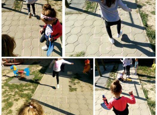 Ribice - boravak na zraku, igra školice, razvoj ravnoteže i koordinacije, poticanje strpljivosti i čekanja na red