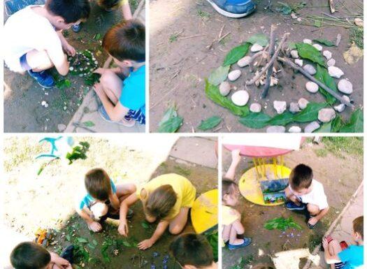 Ribice i Leptirići - boravak na zraku, građenje nastambi i pripadajućih sadržaja od prirodnih materijala, poticanje međusobne suradnje, dogovaranja te razvoj mašte i kreativnosti.