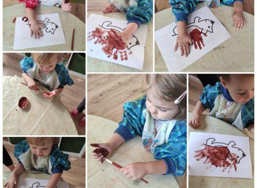 Zečići i Bubamare - likovna aktivnost otiskivanja dlana na temu Ježić Ubodežić. Poticanje razvoja kreativnosti i mašte