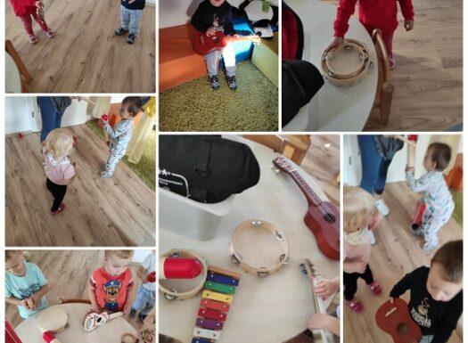 Zečići i Bubamare - upoznavanje s instrumentima te pjevanje pjesme Boc boc iglicama. Poticanje zanimanja za glazbu i ritam
