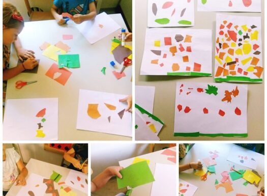 Ribice - likovna aktivnost na temu Jesenje lišće, izrezivanje i lijepljenje lišća kolaž papirom. Razvoj fine motorike prstiju te koordinacije oko-ruka
