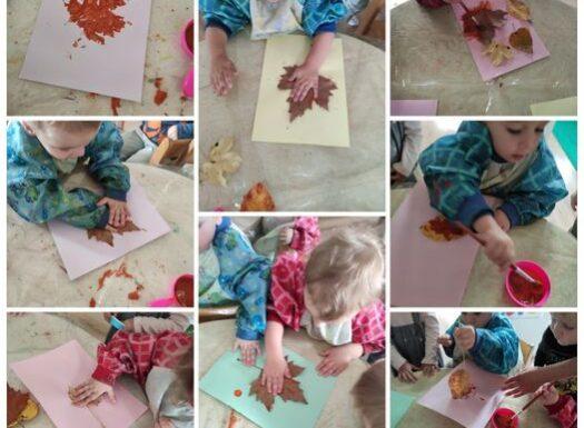 Zečići i Bubamare - likovna aktivnost povodom obilježavanja prvog dana jeseni, otiskivanje lišća na papir, poticanje razvoja fine motorike te kreativnosti i stvaralaštva