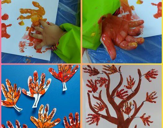 Lavići - likovna aktivnost Jesenje stablo; Otiskivanje dlana u temperi s ciljem poticanja fine motorike i istraživanja teksture i gustoće boje