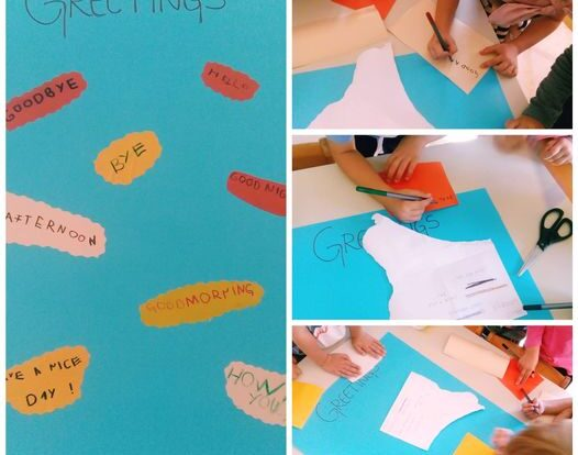 Ribice - greetings poster, writing different greeting words on selfadhesive paper and pasting it on poster