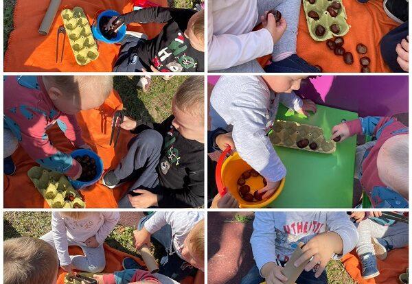 Žirafice- aktivnost na otvorenom; usavršavanje pincetnog hvata prebacivanjem kestena u kartonsku kutiju te usvajanje uzročno-posljedične veze ubacivanjem kestena u kartonski tuljac