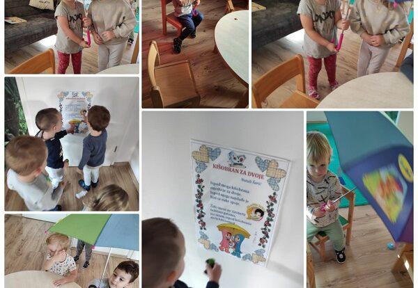 Zečići i Bubamare- bogaćenje dječjeg rječnika pjevanjem pjesmice Kišobran za dvoje; manipuliranje i upoznavanje s funkcijama kišobrana