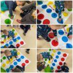 Žirafice - podna igra uparivanja boja, uočavanje i razlikovanje te imenovanje boja. Pridruživanje lego kocaka istoj boji na podlozi te poticanje na suradnju