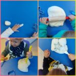 Lavići i Žirafice - zajednička aktivnost uoči obilježavanja Dana kruha; istraživanje teksture i mase tijesta za izradu kruha te razgovor o potrebnim sastojcima i procesu nastajanja kruha