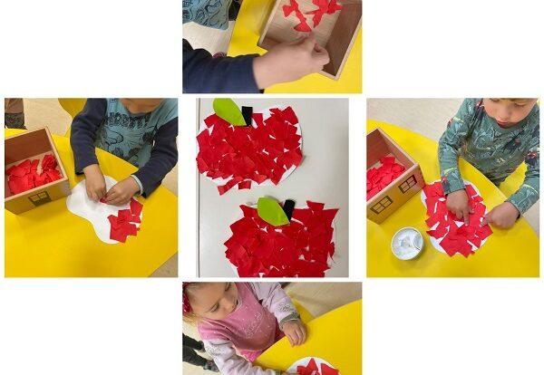 Žirafice - izrada jakuke od kolaž papira. Razvoj fine motorike pomoću trganja kolaža te poticanje na samostalnost u izradi