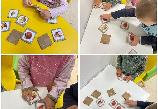 Žirafice - izrada jabuke od kolaž papira. Razvoj fine motorike pomoću trganja kolaža te poticanje na samostalnost u izradi